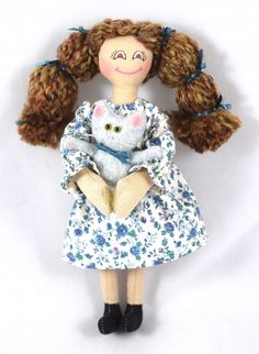 Girl Doll With Kitty  Handmade Doll by JoellesDolls on Etsy