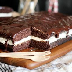 Whoopie Pie Cake--A bit easier to make than the individual pies. Also includes a ganache topping. Can also be made in two 9x9 pans.