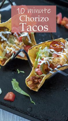 These delicious Chorizo Tacos are a great weeknight meal! Only 4 essential ingredients and 10 minutes and you can have dinner on the table! #cincodemayo #tacos #chorizo #Mexicanfood