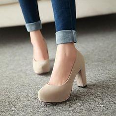 zapatos de las mujeres de las bombas del dedo del pie zapatos de tacón grueso ronda más colores disponibles – USD $ 29.99
