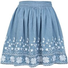 Miss Selfridge Embroidered Skater Skirt (48 RON) ❤ liked on Polyvore featuring skirts, bottoms, saia, faldas, mid wash denim, blue skirt, blue circle skirt, blue skater skirt, miss selfridge and circle skirt