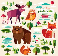 Set with forest animals and nature by MoleskoStudio on @creativemarket