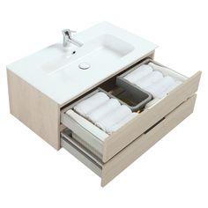 Conjunto de mueble de lavabo fabricado en melamina y DM y acabado en color nube. Dispone de 2 cajones para organizar el baño. Incluye lavabo central. No incluye espejo...