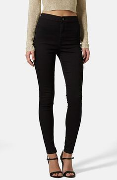 Free shipping and returns on Topshop Moto 'Joni' High Rise Skinny Jeans (Black) at Nordstrom.com. High-waisted skinny jeans are styled with a pocketless front and cast in an inky black wash for a sleek look that pairs with just about anything.