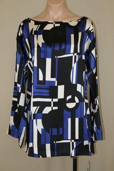 NWT $139 Lauren Ralph Lauren Mod Silk Geometric Long Sleeve Tunic Long Top sz L #LaurenRalphLauren #Tunic #Career