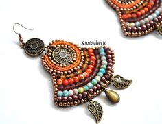 Bohemian earrings Ethnic earrings Soutache by Soutacherie