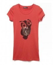 Sequin Owl Red Tees with Scooped Neckline