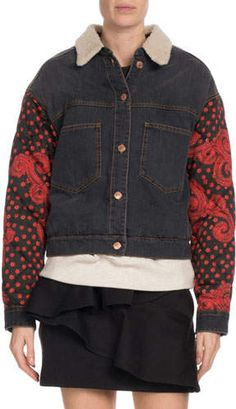Etoile Isabel Marant Chrissa Jean Jacket w  Quilted Sleeves 36cf36f0e