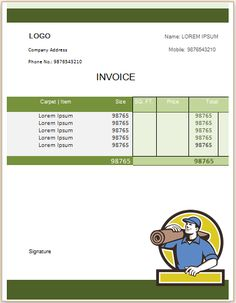 Carpet Cleaning Invoice Template 22 Business Professional Hacks