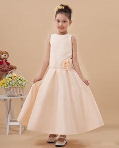 Cute Sleeveless Floor-length Satin Flower Girls Dress  Read More:     http://www.weddingscasual.com/index.php?r=cute-jewel-sleeveless-floor-length-satin-flower-girls-dress.html