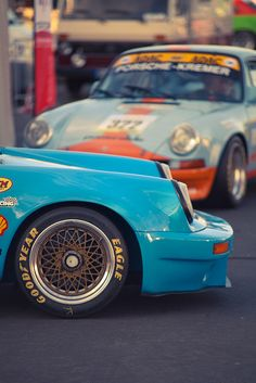 Goodyear Eagle racing tires on BBS centre lock rims, on a Porsche 911 racer.  Love the BBS look on Porsches.