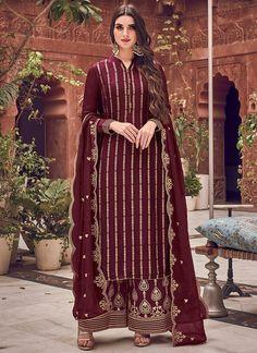 Salwar Kameez, Churidar, Salwar Suits, Palazzo Dress, Palazzo Suit, Palazzo Style, Maroon Suit, Maroon Color, Silk Dupatta