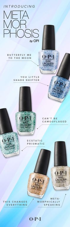 The OPI Metamorphosis collection is a here for just a limited time! Get your glittery nail polish ✨ before time is up!The OPI Metamorphosis collection is a here for just a limited time! Get your glittery nail polish ✨ before time is up! Glittery Nails, Sparkle Nails, Glitter Nail Polish, Opi Nail Polish, Opi Nails, Glitter Bath Bomb, Camouflage Nails, Party Nails, Fancy Hairstyles