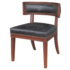 "Carter Dining Chair  Top Grain Leather  24"" W x 24"" D x 32"" H  Finish/Color(s): Distressed Black/Madison"
