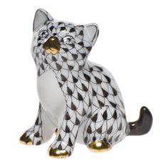 Herend Sitting Kitten Looking Up Hand Painted Porcelain Figurine, Black Fishnet w Gold Accents.