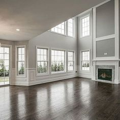 Love all the windows & wainscoting. – Home Improvemen… Love all the windows & wainscoting. – Home Improvements … Dream Home Design, Home Interior Design, My Dream Home, House Rooms, Home Living Room, Great Rooms, Home Remodeling, Building A House, House Plans