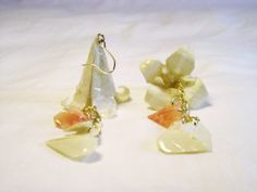 Lily earrings heart origami, paper hanging cream wedding