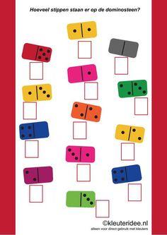 Hoeveel stippen staan er op de dominosteen, ,how many dots are there on the domino, free printable. Dyslexia Activities, Kindergarten Math Activities, Preschool Printables, Teaching Math, Phonics Song, Alphabet Phonics, Math Bingo, Fun Math, Kids Learning Alphabet