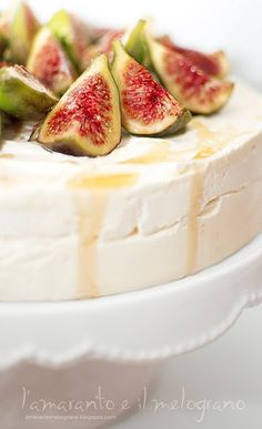 iced cake with honey, almonds and figs