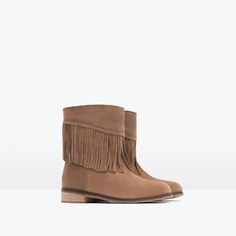 FRINGED SPLIT SUEDE ANKLE BOOTS from Zara kids