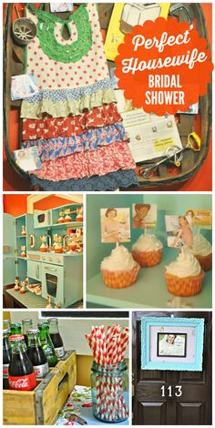 """A 50's inspired """"Perfect Housewife"""" bridal shower with vintage kitchen decorations! See more party ideas at CatchMyParty.com!"""