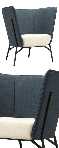 """Say """"hello"""" to your new favorite statement chair. This Contemporary Cocoon Accent Chair is wrapped in a curved backing with denim-style upholstery and features an ultra-plush beige cushion. This thorou...  Find the Contemporary Cocoon Accent Chair, as seen in the On the Modern Side of Mid-Century Collection at http://dotandbo.com/collections/on-the-modern-side-of-mid-century?utm_source=pinterest&utm_medium=organic&db_sku=116270"""