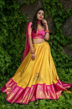 """Teja Sarees recently launched their beautiful wedding bridal lehenga collection """"Sampradaya"""". Hand embroidered blouse designs get your look right highlighting the back and neckline. Half Saree Lehenga, Lehenga Saree Design, Lehnga Dress, Lehenga Designs, Saree Blouse Designs, Banarasi Lehenga, Kids Lehenga, Kurta Designs, Gown Dress"""