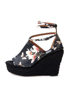 GIVENCHY Women's High Heels WEDGES SANDALS FLOWERS STYLE PRINTS SZ EU 37 US 7 #Givenchy #PlatformsWedges