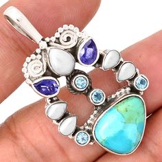 Blue-Turquoise-Blue-Topaz-Pearl-Iolite-925-Silver-Pendant-Jewelry-SP173099