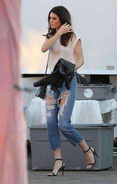 Kendall Jenner destructed boyfriend jeans sheer jersey tshirt ankel strap heels