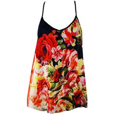 Floral Rose Tank Top ($86) ❤ liked on Polyvore