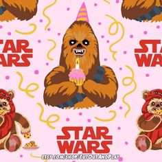 Star Wars birthday - Wookie and Ewoks digital paper pattern for scrapbooking, cardmaking, birthday decorations, planner stickers, gifts wraps and for fun. #ewok #ewoklife #cookies #jedi #chewie #force #chewbacca #birthday  #scrapbooking #scrapbook #scrapbookingideas #digitalpaper #paper #patterns #pattern #decorations #background #party #partyideas #card #cardmaking