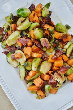 The Art of Comfort Baking: Roasted Sweet Potato and Brussel Sprouts with Shallot Vinaigrette substitute the brown sugar out for paleo sweetener Clean Eating Recipes, Healthy Eating, Cooking Recipes, Think Food, I Love Food, Side Dish Recipes, Vegetable Recipes, Chicken Recipes, Vegetarian Recipes