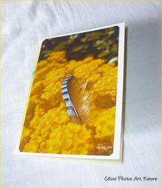 """Carte double"""" Une plume pour quelques mots... """"10,5x15cm de Céline Photos Art Nature : Cartes par celinephotosartnature"""