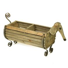 "Wooden Dachshund Planter - Planter Holds Two Medium Pots - Pinewood and Iron, 29"" Long"