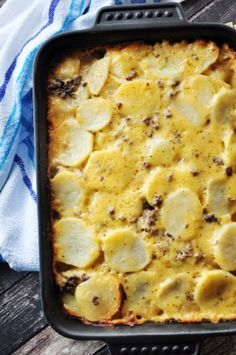 Hamburger Potato Cheese Casserole Recipe - Food.com. Made this with ground turkey and used homemade taco seasoning. Poured 2 tbsp melted butter and 4 tbsp of milk over it after layering with velveeta and shredded cheddar.