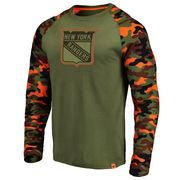 Men s New York Rangers Fanatics Branded Olive Camo Recon Long Sleeve Raglan  T-Shirt 84c4cd4ff