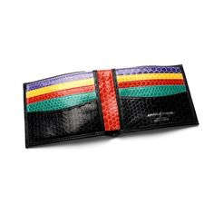Exotic Billfold Wallet in Black with Rainbow Snake from Aspinal of London