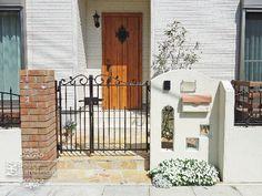 門柱 塗り壁 ガラスブロック