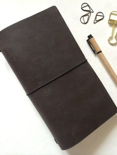 Charcoal - Refillable Leather Journal // Leather Notebook // Japanese type Organizer