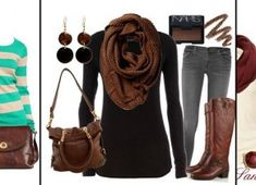 Black and Brown Outfit.never been a fan of black and brown but this is super cute! im so ready for fall Look Fashion, Fashion Beauty, Fashion Outfits, Womens Fashion, Brown Fashion, Fashion Shoes, Fashion News, Fashion Fall, Teen Fashion