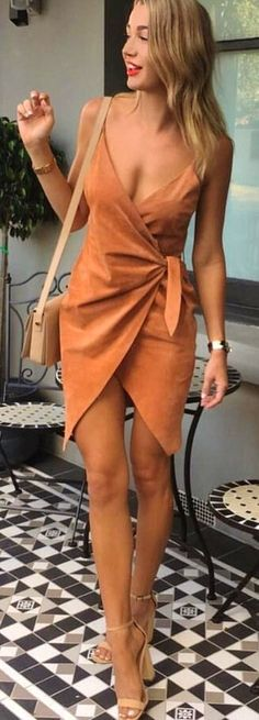 #spring #outfits  Star Dust Wrap Dress & Nude Sandals