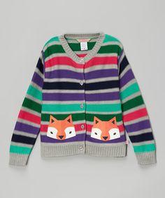 Look what I found on #zulily! Purple & Green Stripe Fox Cardigan - Infant, Toddler & Girls by Sophie & Sam #zulilyfinds