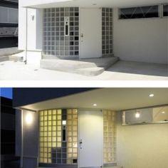ひかりと雲の家(師岡の家)の部屋 外観のアクセントとなるガラスブロック壁