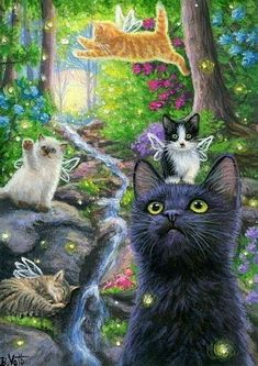 Raccoon Cat Kitten Clowns Jester Whimsy Moon Stars Silly Friends ACEO Print