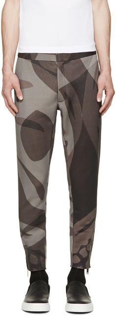 Alexander McQueen Grey Skull Camo Trousers
