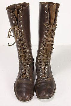 Diamond Brand Knee-High Leather WWII Motorcycle Boots Sz 8 Mens 19 Eyelet/Loop