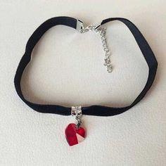 Lover Gothic Velvet Heart Crystal Choker Handmade