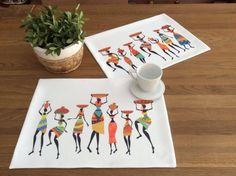 Amerikan Servis Yemek masalarınızı renklendirin..45 x 40cmAfrikalı kızlar.. Runner..Rengi solmaz, kolay.... 326883