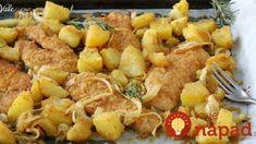 Fit kuracie rezne so zemiakmi a cibuľkou na jednom plechu: Raz ochutnáte a v lete si na vyprážané rezne ani nespomeniete! Fett, Favorite Recipes, Snacks, Chicken, Dinner, Ethnic Recipes, Biscotti, Life, Instagram